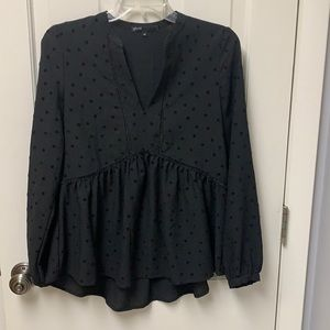 Gibson XS Black Top With Polka Dots V-Neck
